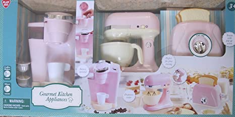 Kitchen Appliances GOURMET Child Size (Pink U0026 Off White) W BATTERY Operated  COFFEE MAKER