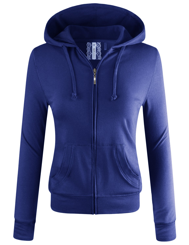 ELF FASHION Women Lightweight Cotton Hoodie Casual Long Sleeve Zip-Up Jacket W/Kangaroo Pocket DROYAL S