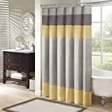 Madison Park Amherst Fabric Yellow Shower Curtain, Pieced Transitional Simple Shower Curtains for Bathroom, 72 X 72, Clear Lemon