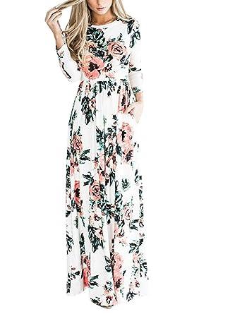 b92a61b60a2 Landove Robe Manche Longue Femme Automne Hiver Maxi Robe Fleurie Longue  Vintage Boho Chic Robe de