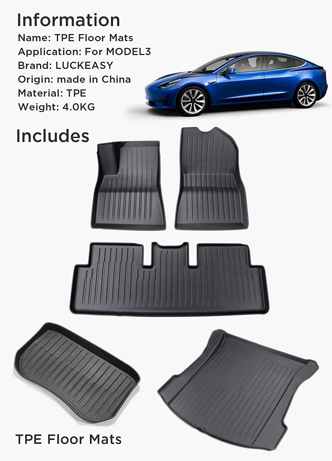 LUCKEASY for Select Tesla Model S Complete Set Custom Fit All-Weather Piano Version Floor Mats Environmentally Friendly Waterproof TPE Mat Black Old Style