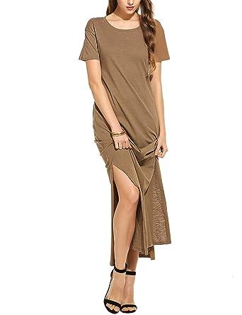 754f70941 Meaneor Women s Short Sleeve T Shirts Tops Open Side Split Long Maxi Dress  Coffee S