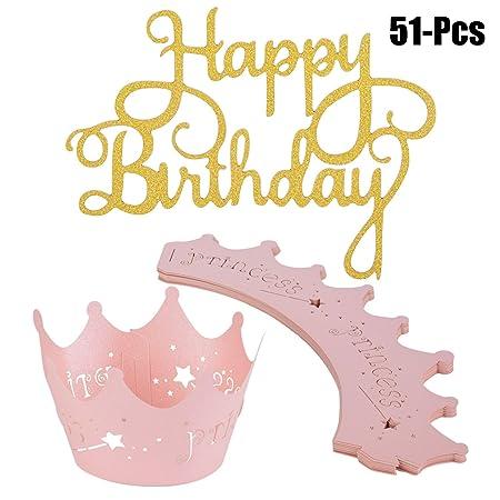 Cake Topper, Funpa 50Pcs Feliz CumpleañOs Glitter Cupcake ...