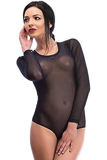 Kurzarm-Body Verschiedene Farben /& Gr/ö/ßen Unterhemd zum Sport /& als Basic Evoni Damenbody Damen-Dessous transparenter T/üll-Body mit Rundhals f/ür Frauen Bodysuit mit Verschluss-Haken
