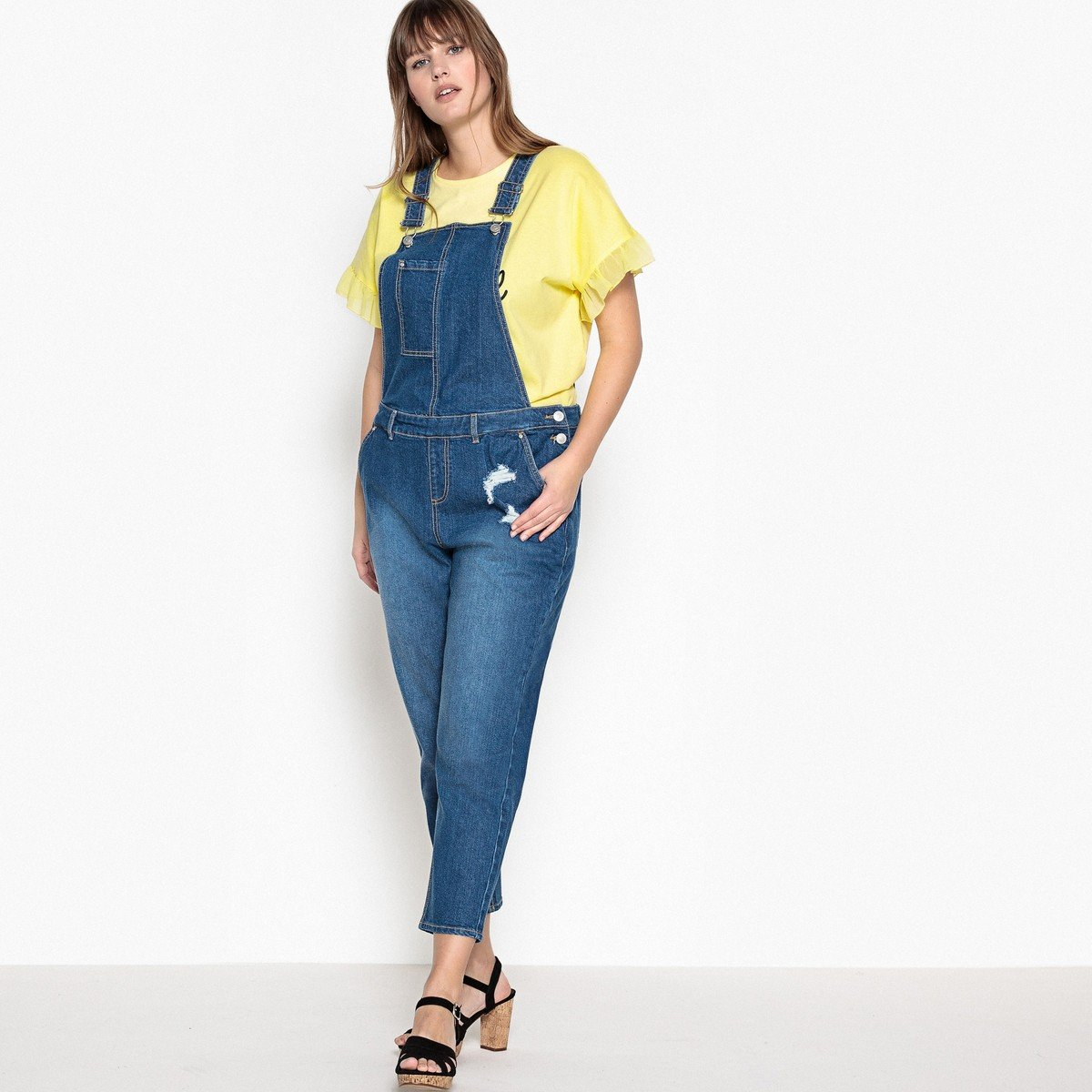 arrives newest style choose clearance Amazon.com: La Redoute Castaluna Womens Denim Dungarees Blue ...