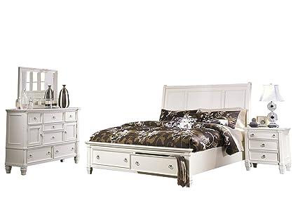 Amazon.com: Ashley Prentice 4PC Bedroom Set E King Sleigh Bed ...