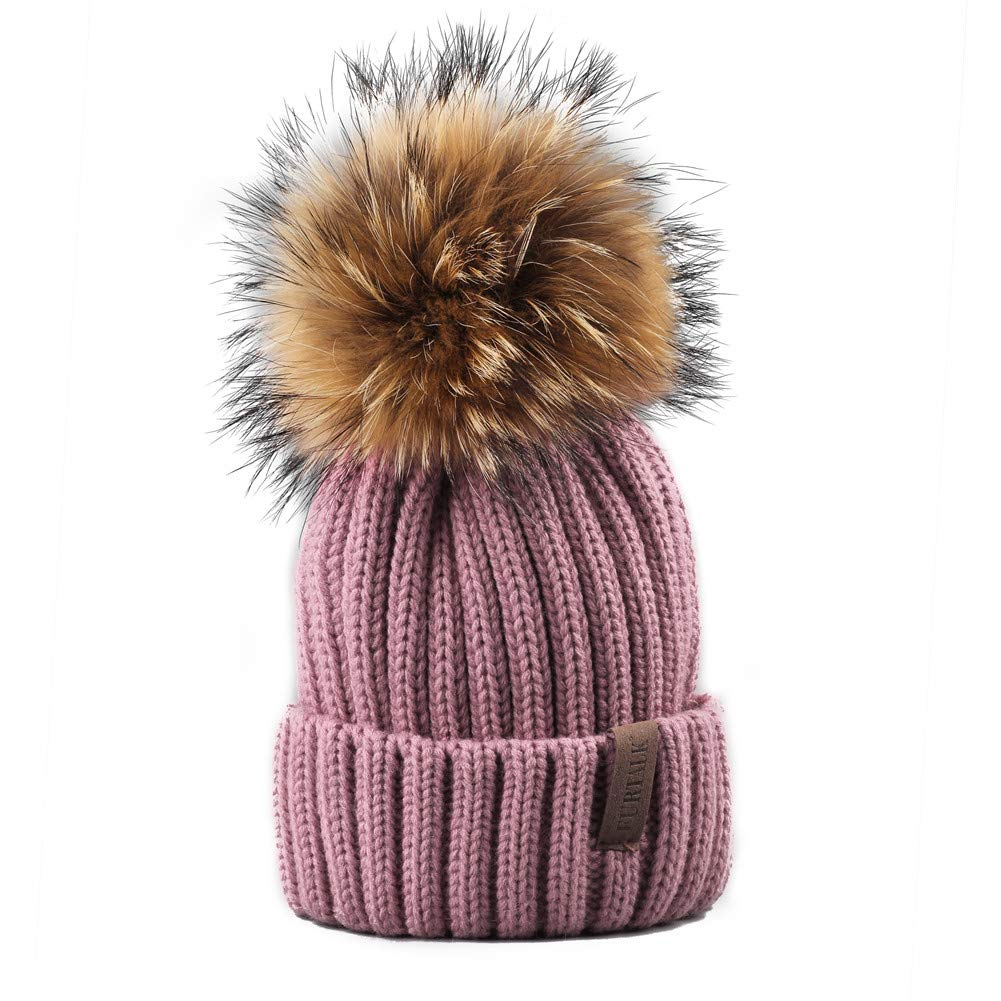FURTALK Winter Knit Hat Real Raccoon Fur Pom Pom Womens Girls Knit Beanie Hat (Lotus Pink)