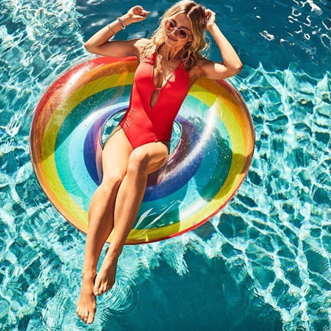 TAOtTAO Anillo Hinchable para natación, diseño de arcoíris: Amazon.es: Deportes y aire libre