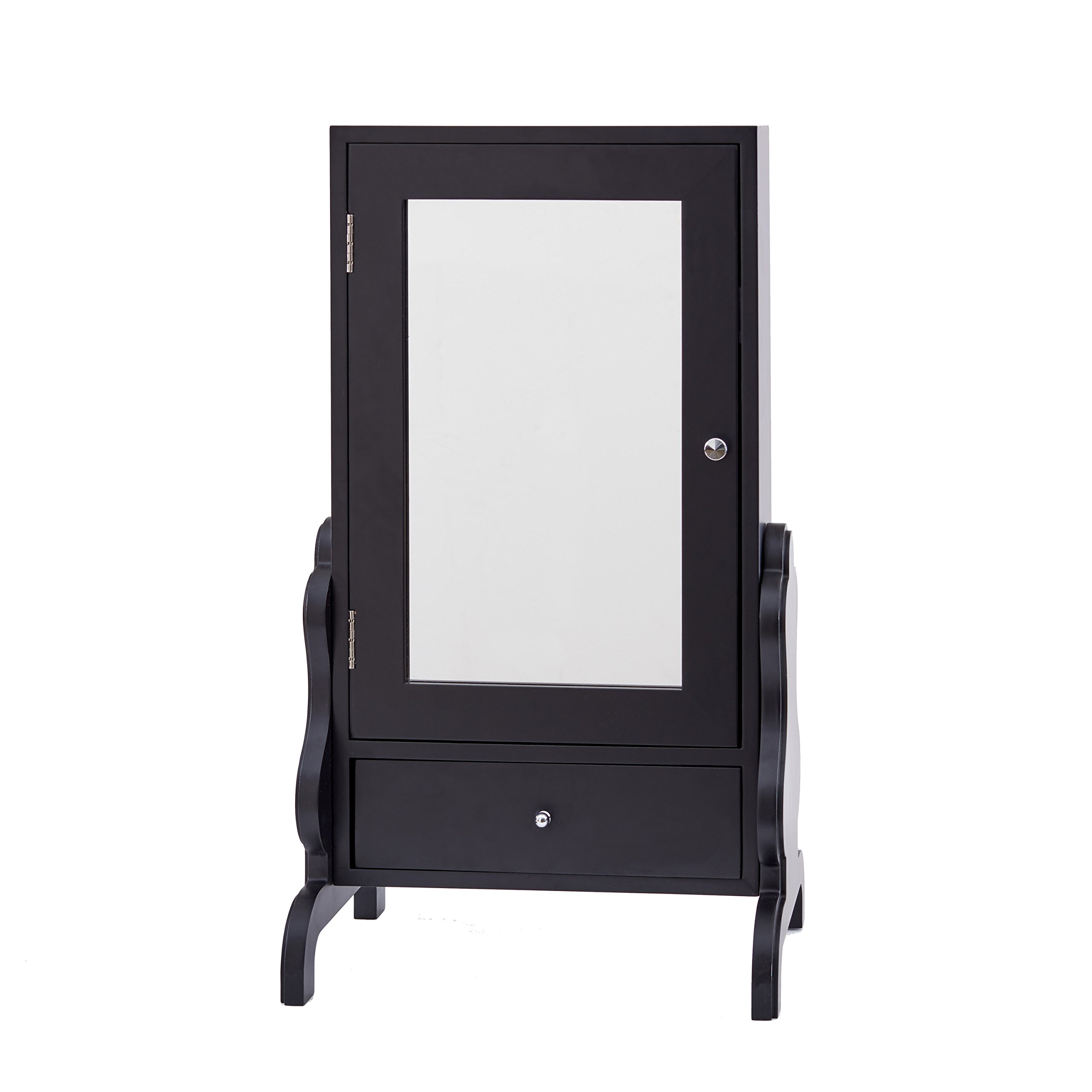 FirsTime & Co. InnerSpace Luxury Products Tabletop Mirror with Jewelry Storage - Black