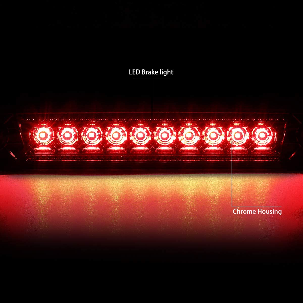 DNA Motoring 3BL-JCOM06-LED-RD Rear Center Full LED 3rd Third Brake Light//Lamp