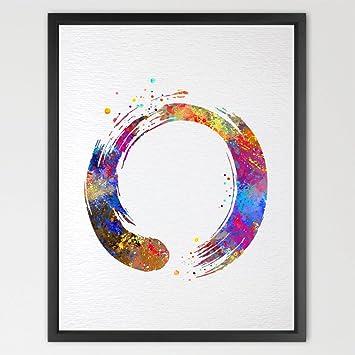 a78d5df865398 Dignovel Studios 8X10 Zen Circle Enso Symbol Buddhism Meditation Yoga  Watercolor Art Print Wall Art Poster