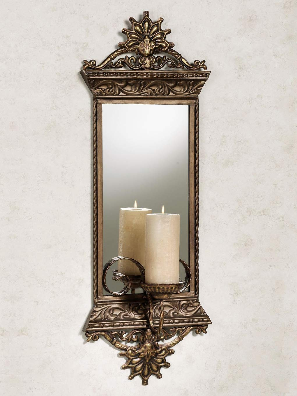 Touch of Class Georgiane Mirrored Wall Sconce Antique Gold by Touch of Class