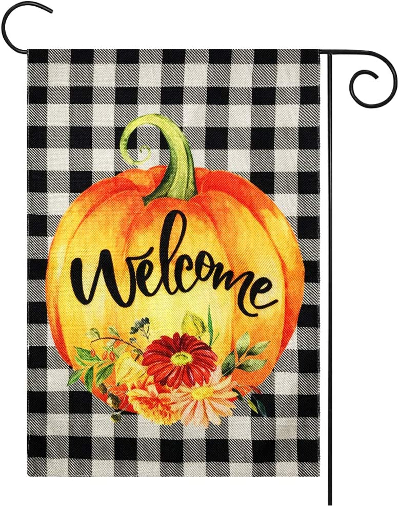 ORIENTAL CHERRY Fall Decor - Welcome Pumpkin Fall Garden Flag w Double Sided - 12x18 Inch Buffalo Check Plaid Burlap Flags for Autumn Halloween Thanksgiving Harvest Home Farmhouse Porch Outdoor Decorations