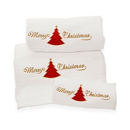Juego de 3 toallas de baño bordadas con el texto Merry Xmas de BgEurope, color