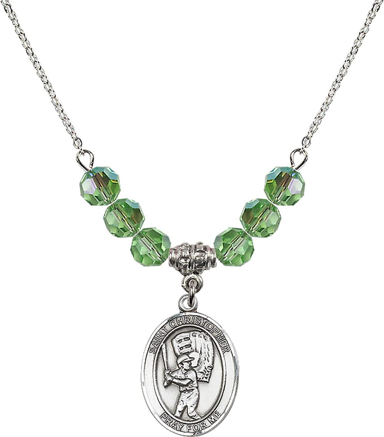 Bonyak Jewelry 18 Inch Rhodium Plated Necklace w// 6mm Green August Birth Month Stone Beads and Saint Christopher//Baseball Charm