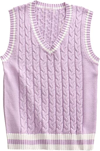 PUWEI Womens Button Down Cable Knit Vest Loose Sleeveless Sweater Cardigan