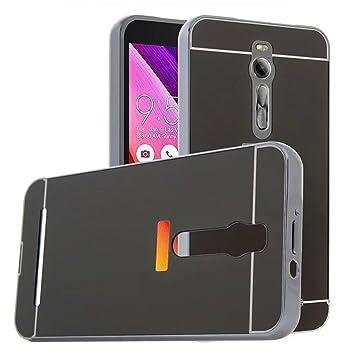 Funda Espejo Aluminio Metal Carcasa para Asus Zenfone 2 (ZE551ML) Color Negro
