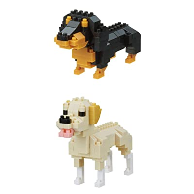 Nanoblocks 2 Interesting Dogs - Bundled Sets - Miniature Dachshund and Labrador Retriever (Japan Import): Toys & Games