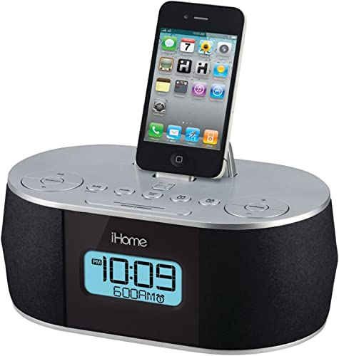 iHome Stereo System with Dual Alarm FM Clock Radio for iPad iPhone iPod