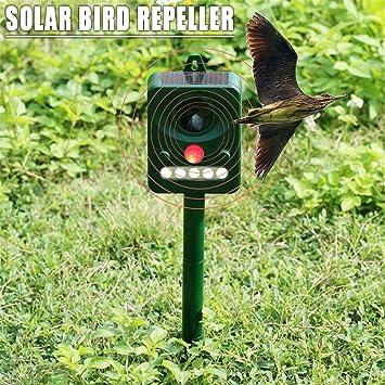 SinceY Repelente Gatos Exterieur, Repelente ultrasónico con batería, Impermeable, Disparador de Flash, Vello Mosquitos, roedores, Insectos, pájaros, ...