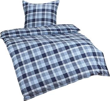 Bettwaesche Mit Stil Warme Feinflanell Karo Bettwasche Blau Grau