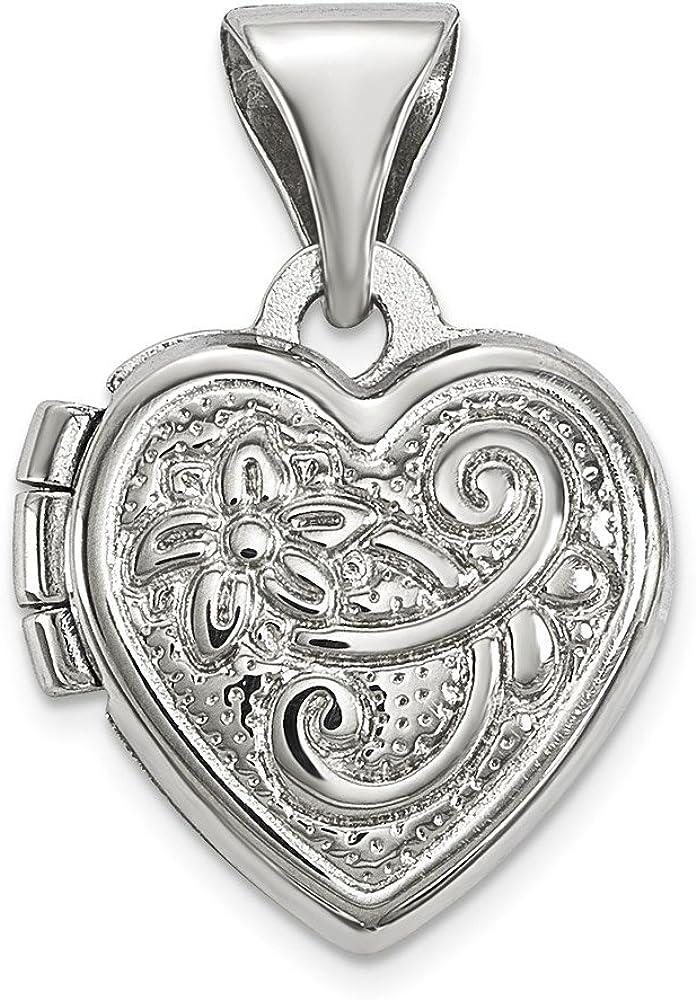 .925 Sterling Silver Scrolled Heart Locket Charm Pendant
