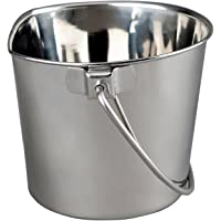 Advance Pet Products Heavy Stainless Steel Flat Side Bucket, 6-Quart