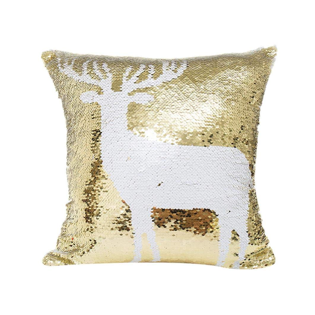 Iuhan Christmas Throw Pillow Case Cushion Cover, Decorative Throw Pillows Case Merry Christmas Glitter Sequins Cushion Covers Pillowcases Gift (A) Iuhan ®