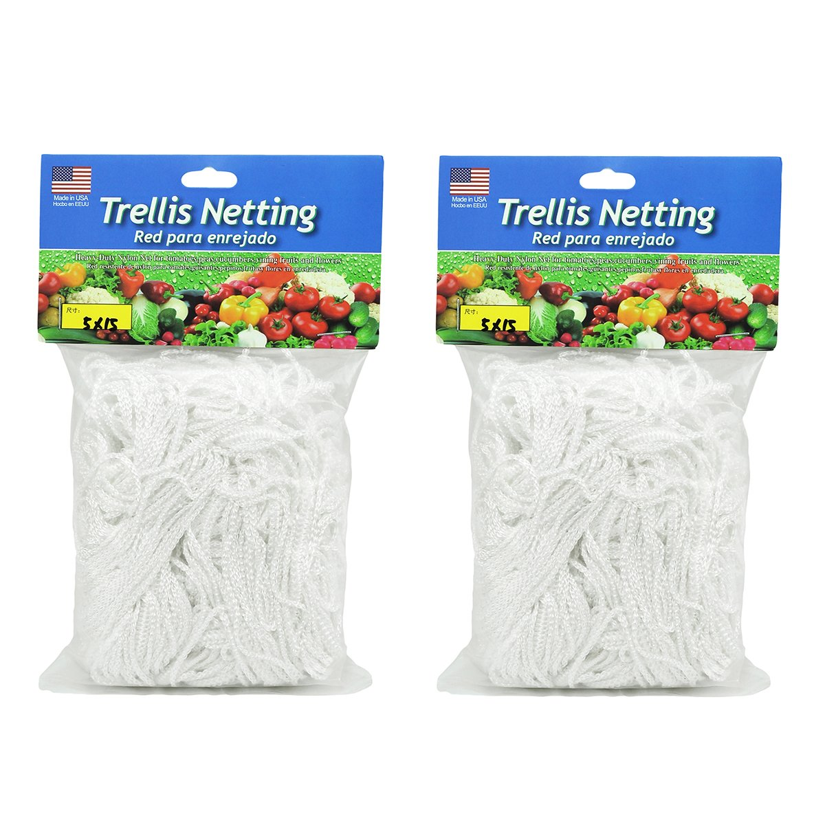 HiHydro Trellis Netting Heavy-Duty Nylon Tangle-Free White Garden Net for Climbing, Fruits, Vegetables and Flowers (2-Pack 5'x15')