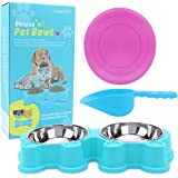 Stainless Steel Cute Cat and Baby Dog Bowl (2-Sets Same Size)
