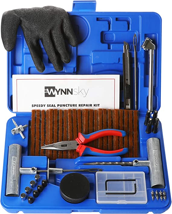 Universal Tire Repair Tool Kit Tire Patch Kits Puncture Repair Kit DeCare 31 Piece Silver
