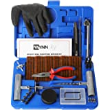 WYNNsky New Ideal 60 Pieces Tire Repair Tools Kit Plug Flat and Punctured Tires-60 Pieces Truck Tool Box for Motorcycle ATV Jeep Truck Tractor Flat Tire Puncture Repair Box