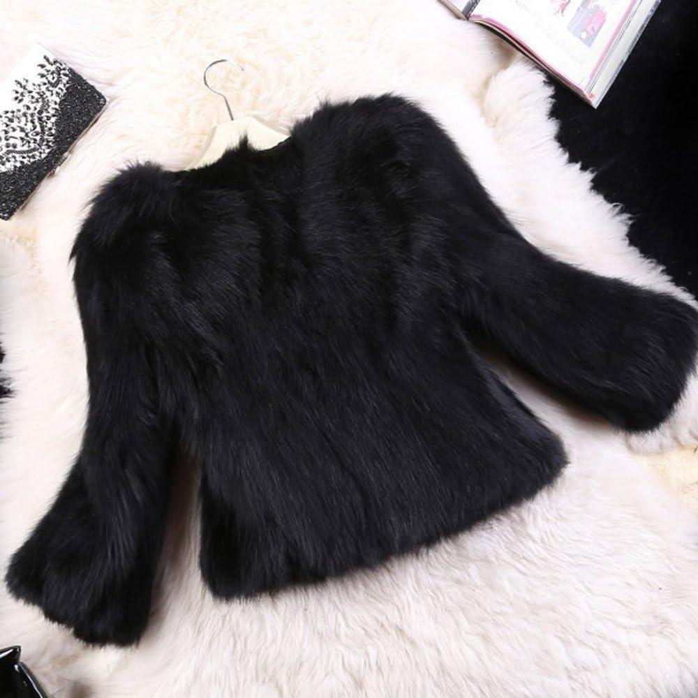 ManxiVoo Womens Winter Warm Fluffy Faux Fur Coat Long Sleeve Short Fur Jacket Outwear for Wedding Party