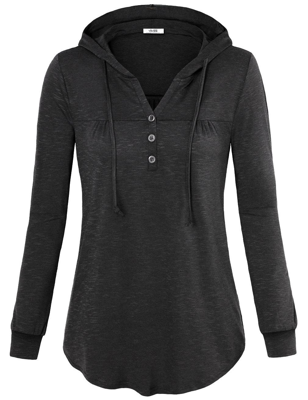 Vivilli Ladies Hooded Sweatshirts, Junior Long Sleeve Tops Loose Pullover Hooded Sweatshirt with Buttons Charcoal Black X-Large