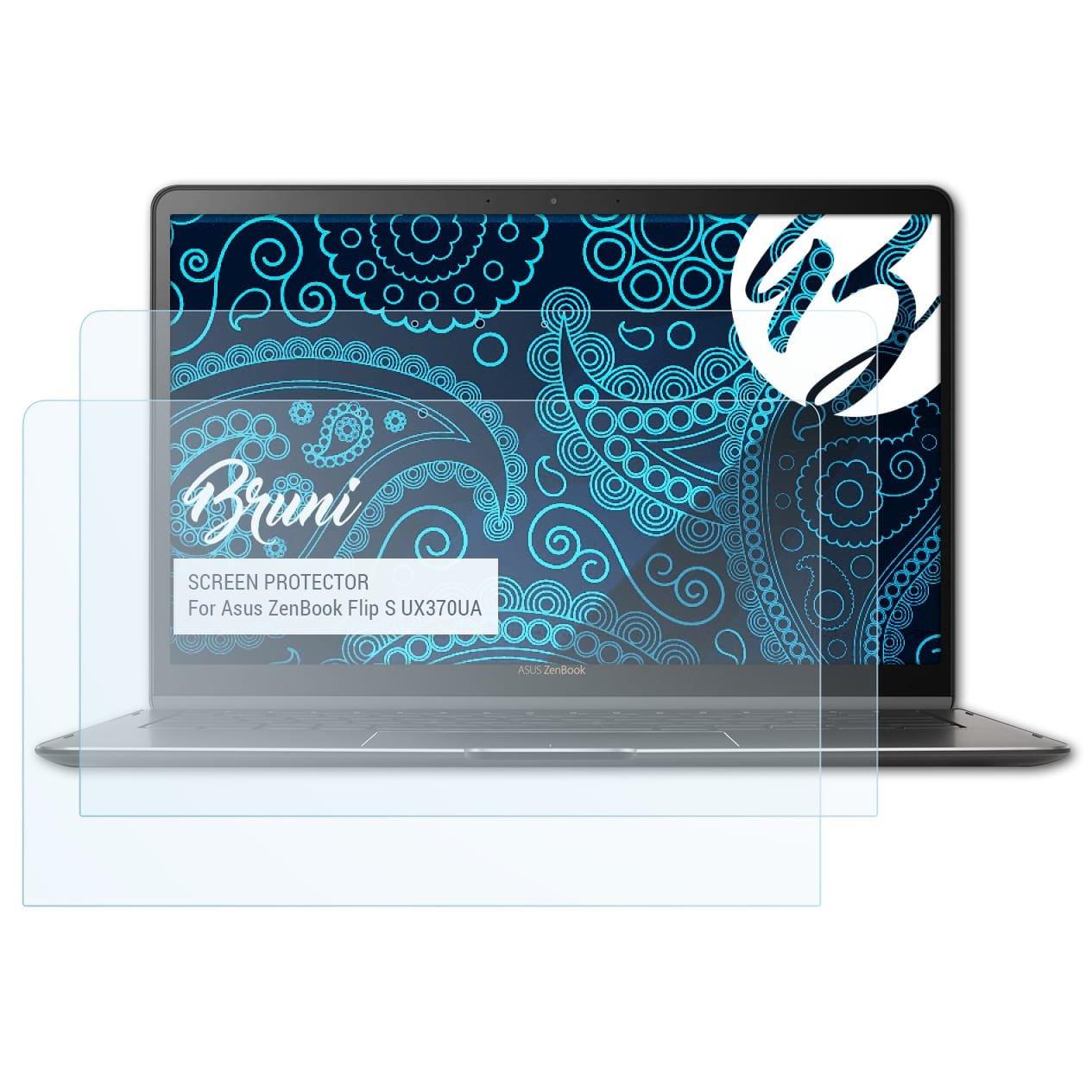 Bruni Pellicola Protettiva per Asus ZenBook Flip S (UX370UA) Pellicola Proteggi - 2 x cristallino Protezione Pellicola dello Schermo