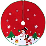 Christmas Tree Skirt With Reindeer Snowflakes And Snowman Design 36 Red
