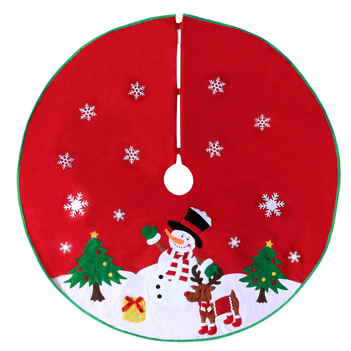 Christmas Tree Skirt with Reindeer Snowflakes and Snowman Design (106CM Red) Unomor