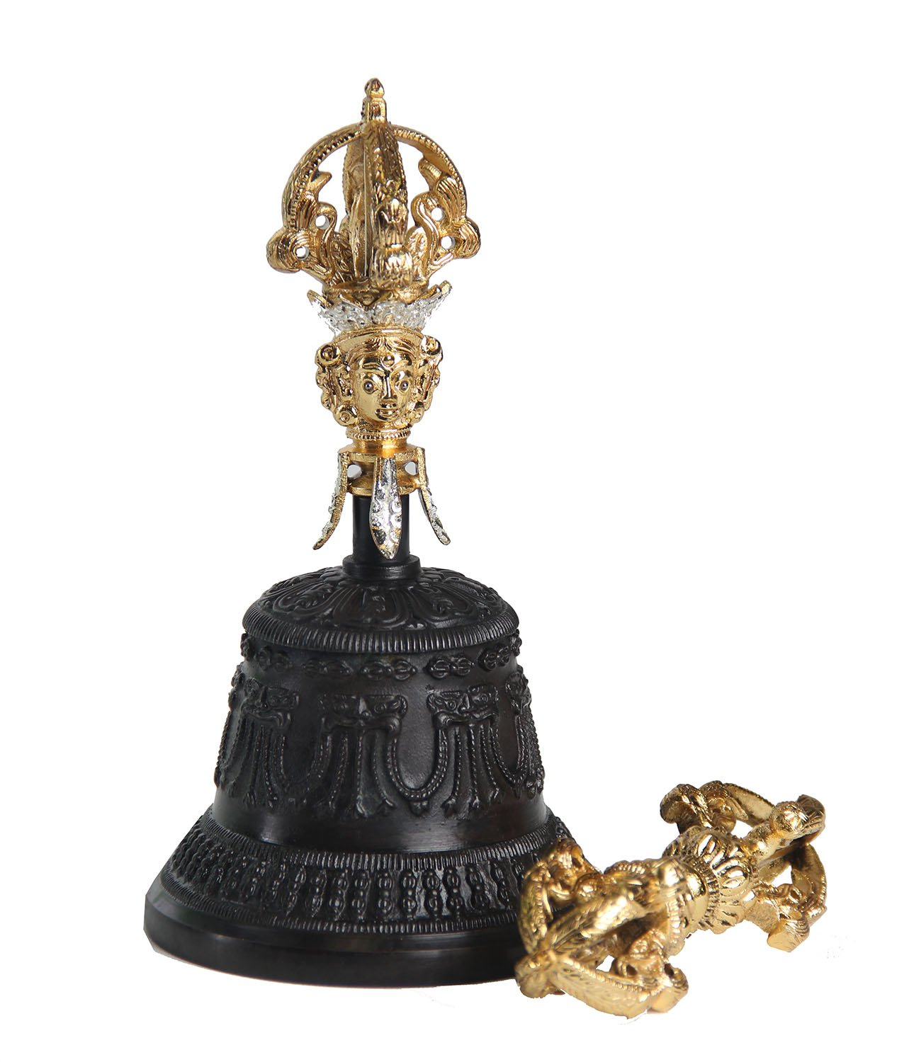 DharmaObjects Premium Quality Tibetan Buddhist Bronze Bell and Dorje Set