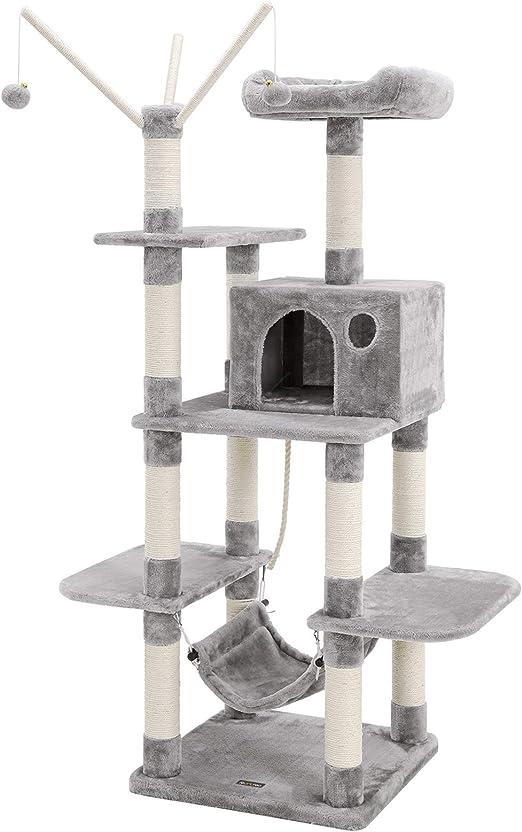 SONGMICS Árbol para Gatos, Rascador de Gatos, Gris Claro PCT86W: Amazon.es: Productos para mascotas