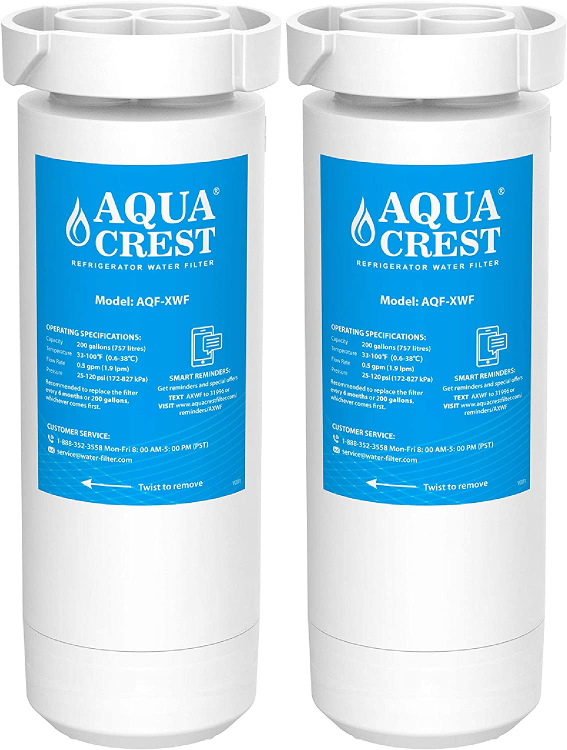 AQUACREST XWF Refrigerator Water Filter, GE Refrigerator Models Starting with GBE21, GDE21, GDE25, GFE24, GFE26, GNE21, GNE25, GNE27, GWE19, GYE18, GSE25, GSS23, GSS25, GZS22, PSE25, CZS22 (Pack of 2)