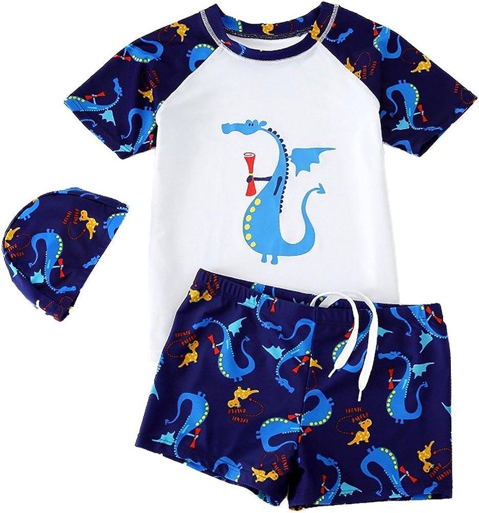 Goodkids Baby Kids Two Pieces With Caps Cotta Cartoon Dinosaur Swimwear Sun Protection Boys Rashguard