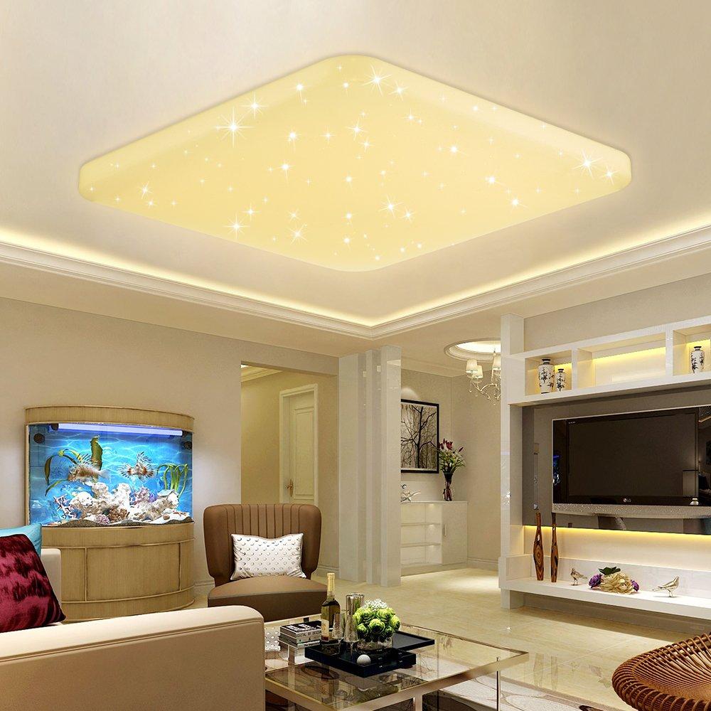 VINGO® LED Deckenleuchte Schlafzimmerleuchte Kinderzimmer Decken Decken Decken Lampe Flurlampe Licht (60W Farbwechsel Eckig Kristall Rahmen) f16a8e