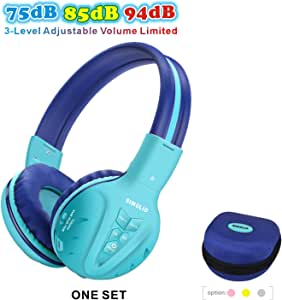 SIMOLIO Wireless kids Headphones with Volume Limited, Kids Headphones Bluetooth for Hearing Protection, Kids Headsets Wireless, Over-Ear kids Headphones Bluetooth and Wired for Girls,Boys,Teens (Mint)