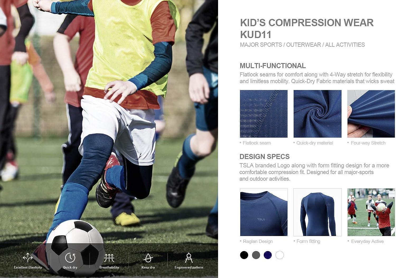 Athletic Workout Shirt Sports Base Layer T-Shirt TSLA Boys Cool Dry Long Sleeve Compression Shirts
