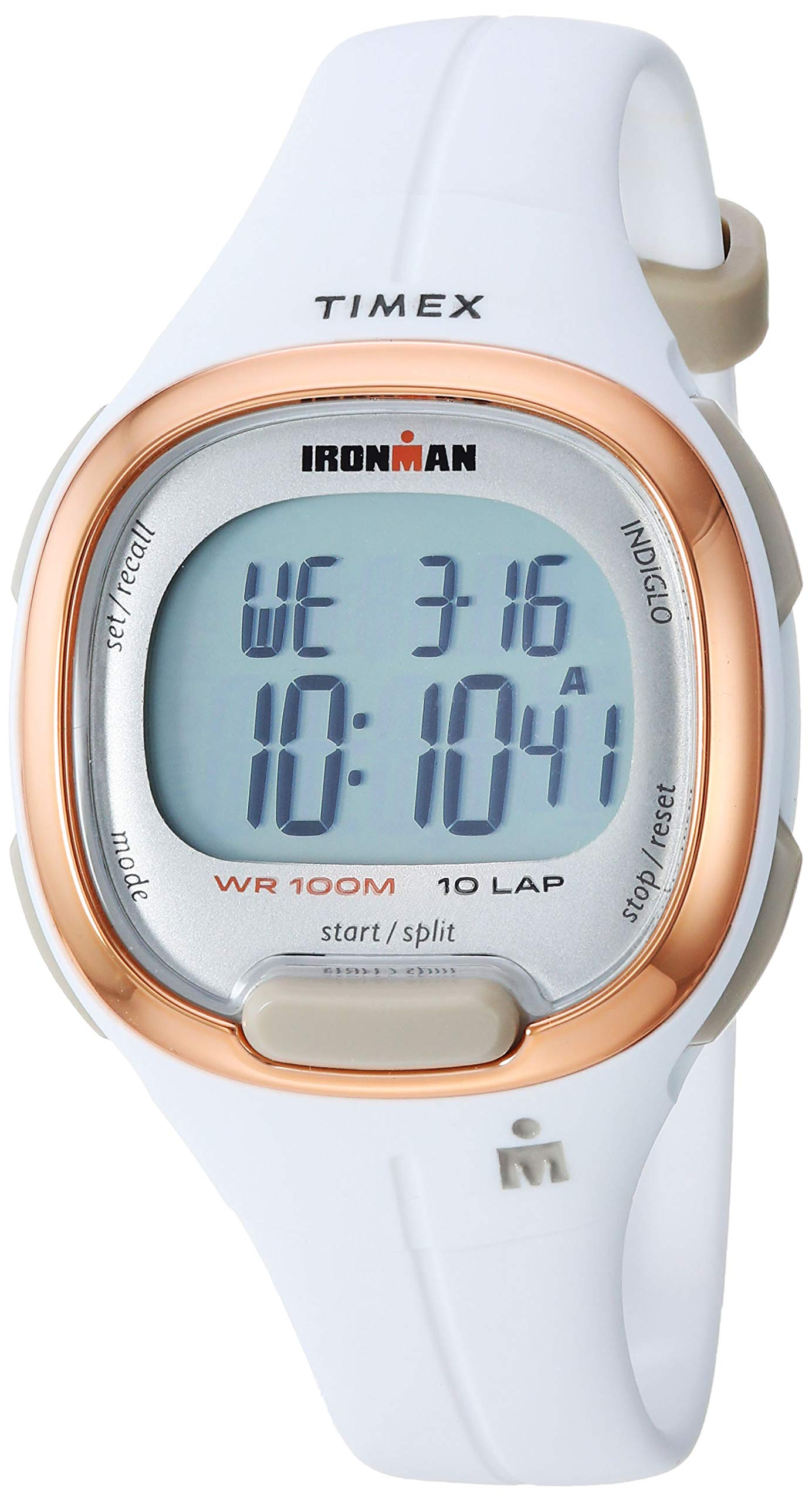 Timex Women's TW5M19900 Ironman Transit Mid-Size White/Rose Gold-Tone Resin Strap Watch by Timex