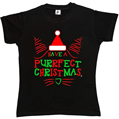 4367fb3dba Fancy A Snuggle Have A Purrfect Christmas Cat Face Wearing Santa Hat Womens  Boyfriend Fit T-Shirt: Amazon.co.uk: Clothing