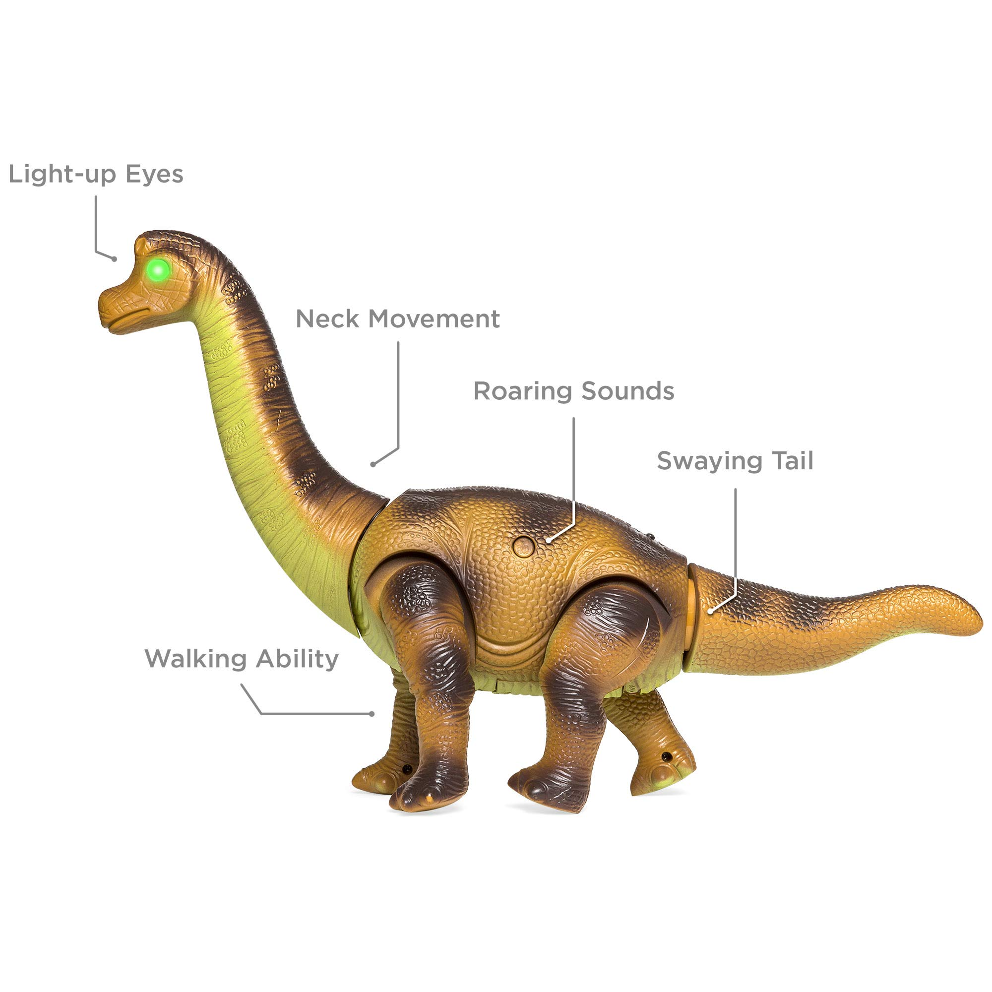 Best Choice Products 17.5in Kids RC Stomping Brachiosaurus Dinosaur Electric Animal Toy Robot w/ Light Up Eyes, Roaring Sounds, Swinging Head, Remote Control by Best Choice Products (Image #3)