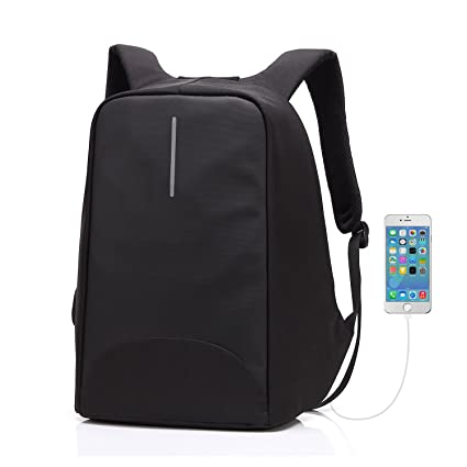 24308f32931d Business Laptop Backpack 15.6 inch with USB Charging Port Waterproof Travel  Anti Theft Daypack College Bag for Men and Women - Black  Amazon.co.uk   Luggage