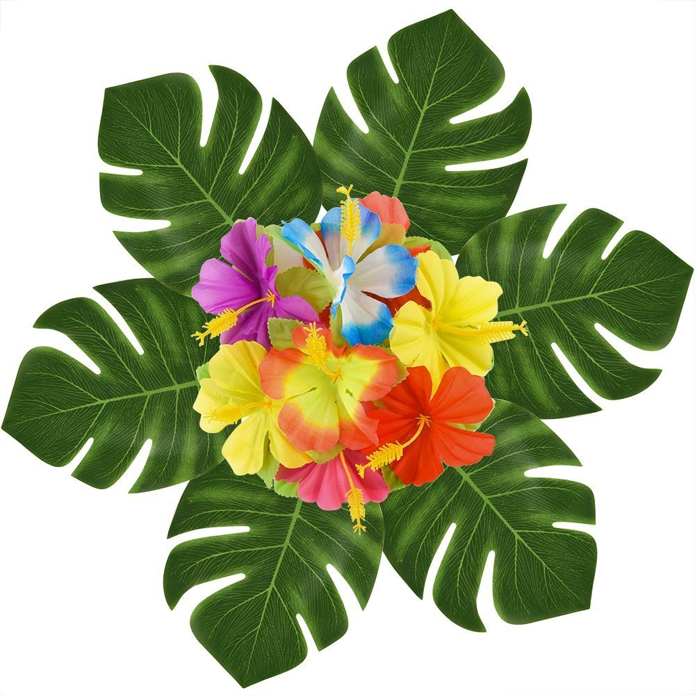 WeiMo Decorative Artificial Leaves and Flowers, 66 pcs Pack Green Artificial Monstera Palm Leaves and Colorful Silk Cloth Flowers for Party Decoration and Home Decoration (66)