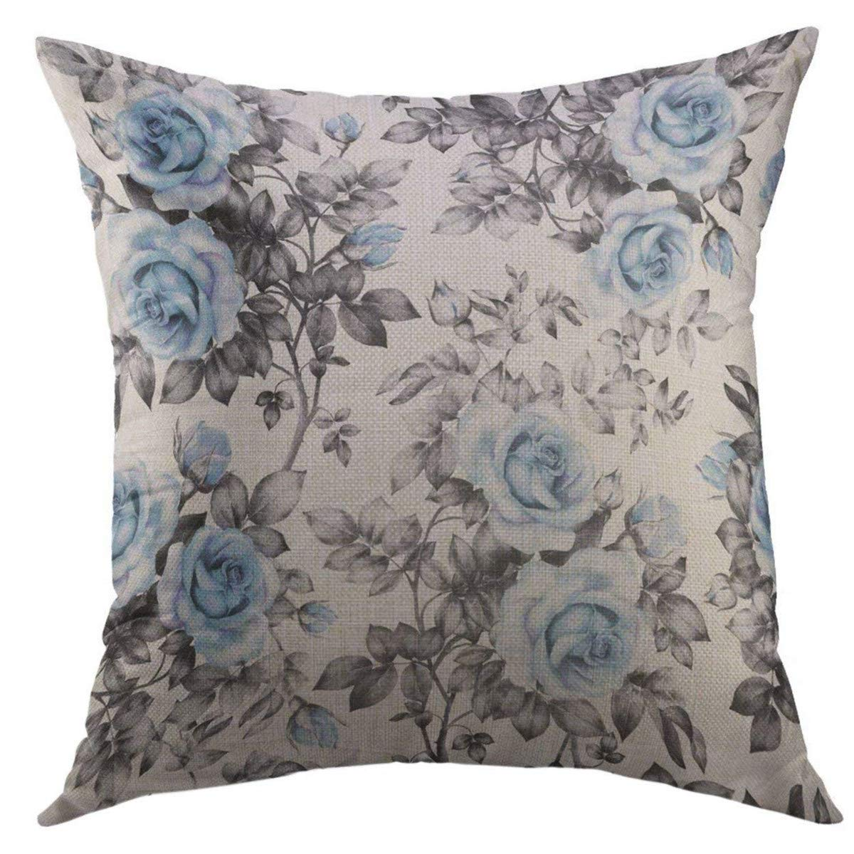 Mugod Decorative Throw Pillow Cover for Couch Sofa,Black White with Blue Flowers Leaves Watercolor Floral Pattern Rose in Pastel Color for Gray Retro Home Decor Pillow case 18x18 Inch